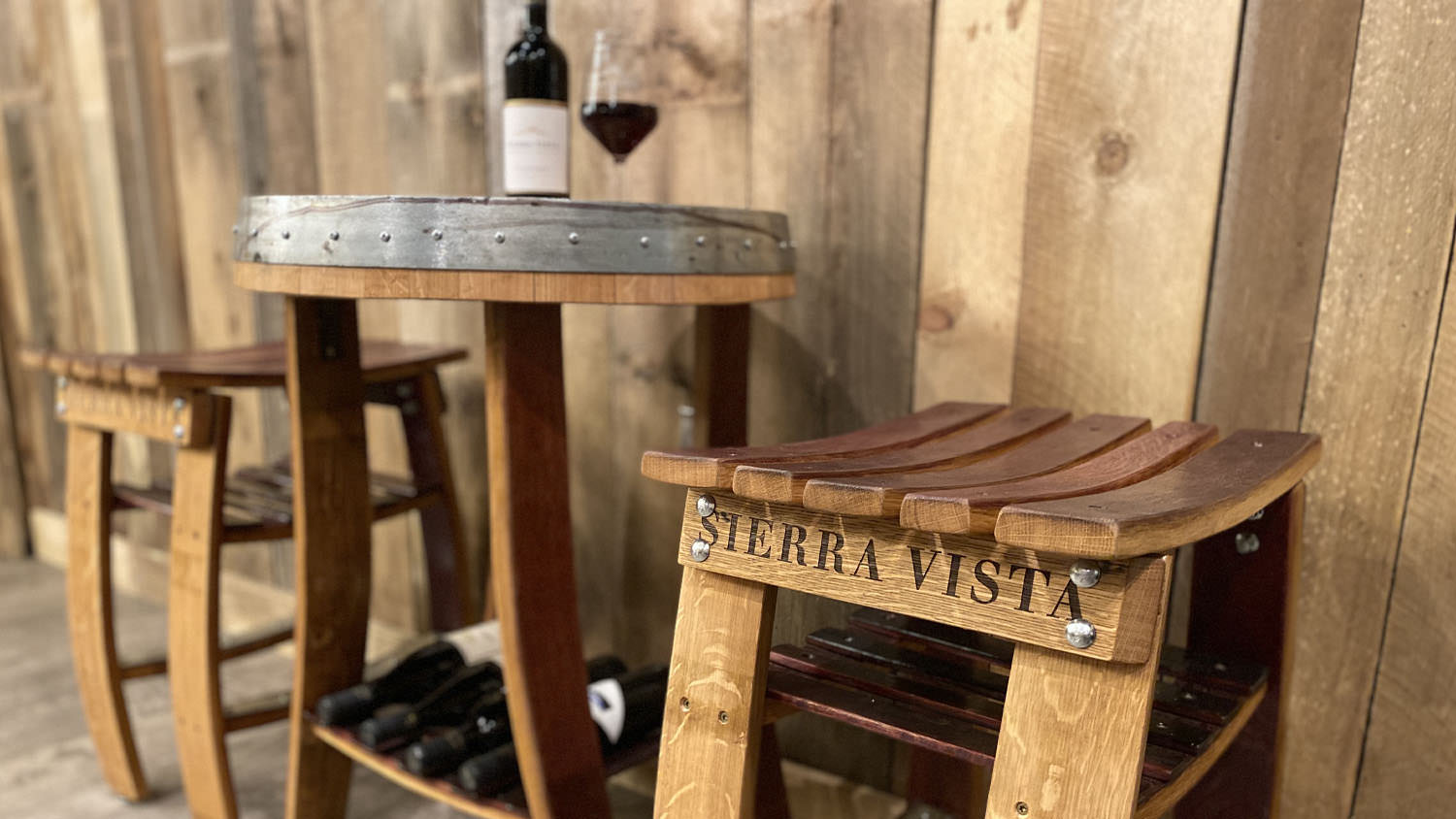 Tables and Stools made from Wine Barrels