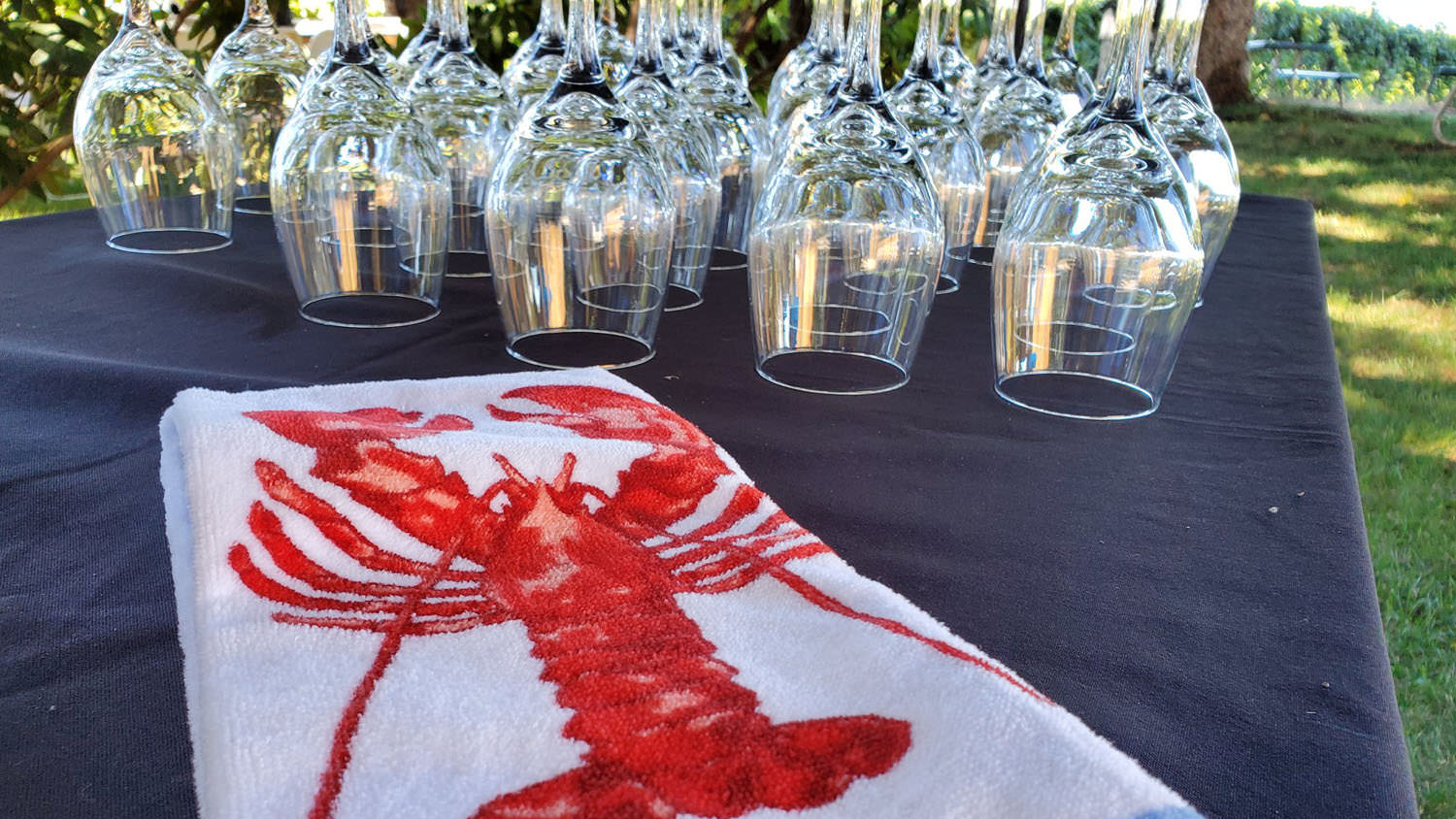 Sierra Vista - Events - Lobster Boil Towel and Wine Glasses